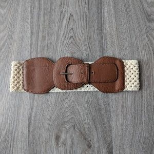 Accessories - Brown and Tan Faux Leather and Crochet Belt